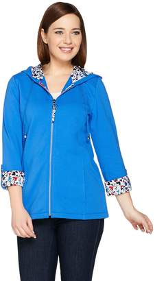 Susan Graver Weekend French Terry Hooded Jacket w/ Printed Trim