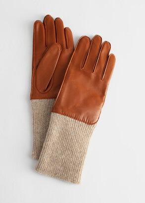 And other stories Ribbed Cuff Leather Gloves