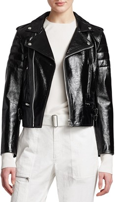 Helmut Lang Glossy Leather Cropped Biker Jacket