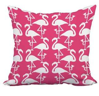 Simply Daisy 22 x 22 Inch Flamingo Heart Martini Coral Tropical Print Decorative Polyester Throw Pillow with Linen Texture