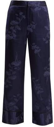 MM6 MAISON MARGIELA Floral Jacquard Satin Pyjama Style Trousers - Womens - Blue Multi
