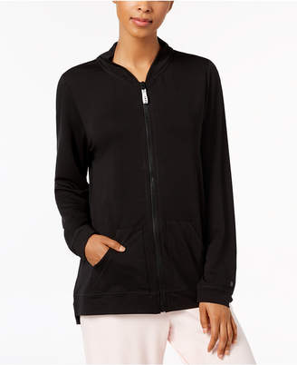 Hue Solid Zipper-Front Pajama Top