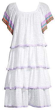 Pitusa Women's Boho Embroidered Trim Tiered Ruffle Dress