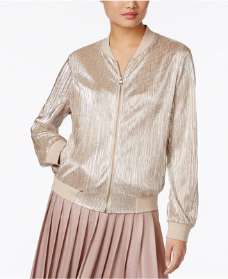 INC International Concepts Metallic Pleated Bomber Jacket, Only at Macy's $89.50 thestylecure.com