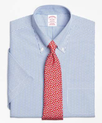 Brooks Brothers Madison Classic-Fit Dress Shirt, Non-Iron Dobby Candy Stripe Short-Sleeve