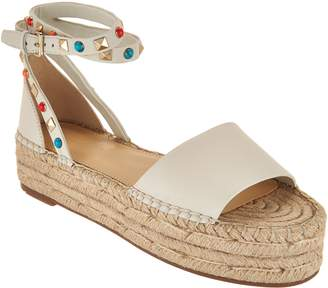 Marc Fisher Leather Espadrilles w/ Ankle Strap - Vajen