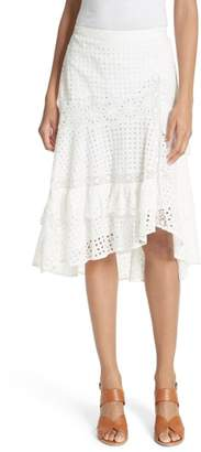 Joie Jarvee Asymmetrical Eyelet Skirt