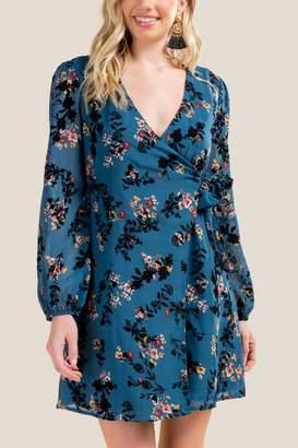 francesca's Addilyn Floral Wrap Dress - Dark Teal