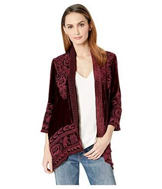 Johnny Was JWLA By Women's 3/4 Sleeve Knit Draped Cardigan with Embroidery