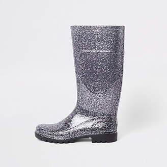 River Island Silver glitter wellie boots