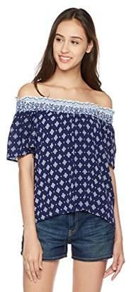 Peace Love Maxi Short Sleeve Diamond Off-The-Shoulder Blouse