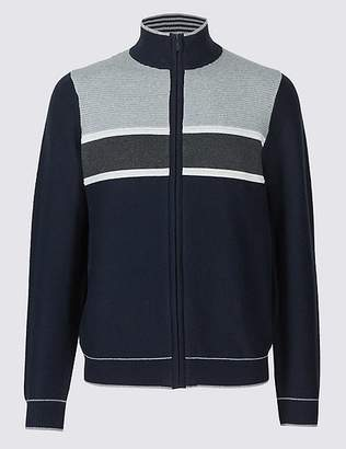 Marks and Spencer Cotton Rich Striped Zip Through Cardigan