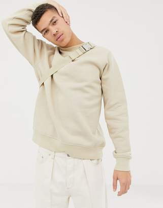 Asos oversized sweatshirt in heavyweight beige jersey