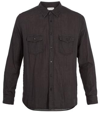 Saint Laurent Chest Pocket Crinkled Cotton Shirt - Mens - Black
