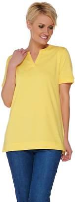 Denim & Co. Essentials Short Sleeve Split V-neck Top