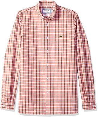 Lacoste Men's Long Sleeve Oxford Check Button Down Collar Slim Woven Shirt