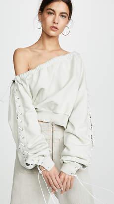 Unravel Project Asymmetric Neckline Lace Up Sweatshirt