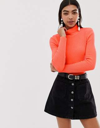 Asos DESIGN neon skinny rib sweater with roll neck