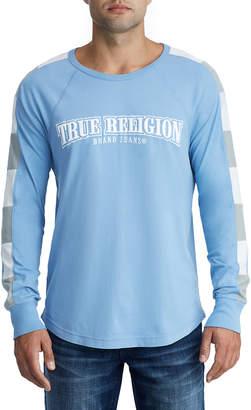 True Religion MENS BROKEN STRIPE RAGLAN SHIRT