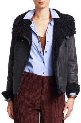 Brunello Cucinelli Reversible Shearling& Leather Moto Jacket