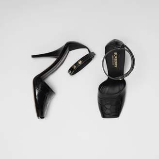 Burberry Triple Stud Embossed Leather Peep-toe Sandals