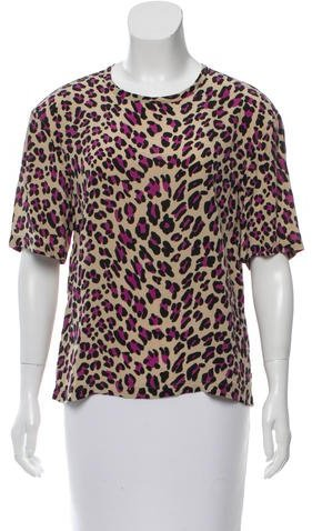 Equipment Equipment Leopard Print Silk Top