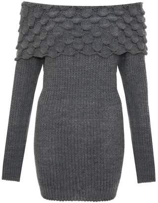 Quiz Dark Grey Knit Bardot Knitted Jumper