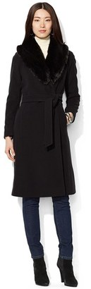 Women's Lauren Ralph Lauren Faux Fur Collar Long Wool Blend Wrap Coat $420 thestylecure.com