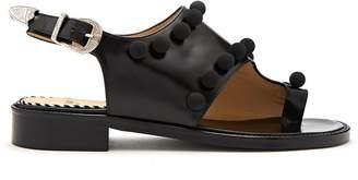 Toga Pompom-embellished leather flat sandals