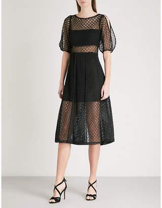 Sandro Cold-shoulder cutout lace dress