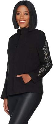 Bob Mackie Bob Mackie's Faux Suede Jacket with Rhinestone and Embroidery