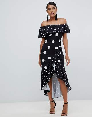Bardot Flounce London wrap dress in black based polkadot