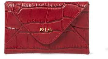 Ralph Lauren Embossed Newbury Card Case Vermillion One Size