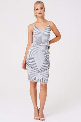 Little Mistress Luxury Alexis Grey Hand Embellished Midi Dress