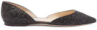 Jimmy Choo Esther D'orsay Glitter Flats - Womens - Black