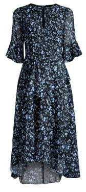 Shoshanna Stellato Asymmetric Floral Midi Dress