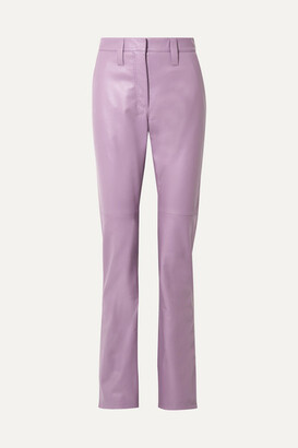 Miu Miu Leather Straight-leg Pants