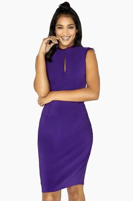 Little Mistress Frankie Lace Trim Keyhole Pencil Dress