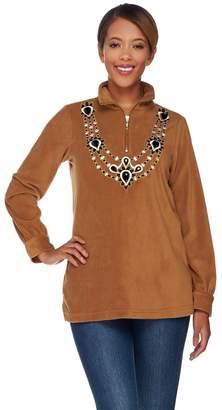 Bob Mackie Bob Mackie's Embellished Neckline Fleece Pullover