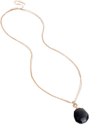 """Kenneth Cole New York Rose Gold-Tone Black Crystal & Stone Pendant Necklace, 33"""" + 3"""" extender"""