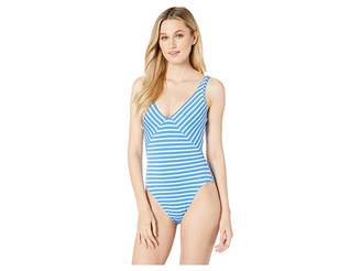 4a04bf3041 Polo Ralph Lauren Pique Stripe Mitered Lace Back Mio One-Piece Swimsuit