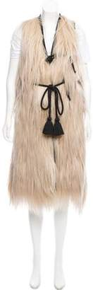 Lanvin Goat Hair Leather-Trimmed Vest w/ Tags Beige Goat Hair Leather-Trimmed Vest w/ Tags