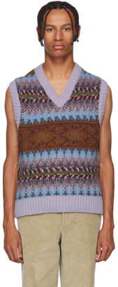 Acne Studios Purple and Burgundy Striped Jacquard V-Neck Vest