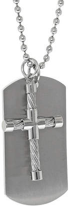 JCPenney FINE JEWELRY Mens Stainless Steel Cable Cross & Dog Tag Pendant Necklace