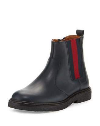 Gucci Joshua Leather Chelsea Boot, Blue, Youth $445 thestylecure.com