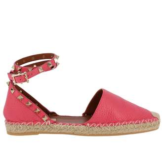 Valentino GARAVANI Espadrilles Rockstud Spike Espadrilles In Hammered Leather With Metal Studs And Rope Sole