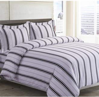 Tribeca Living Stripe Cotton Flannel Printed Oversized Queen Duvet Set Bedding
