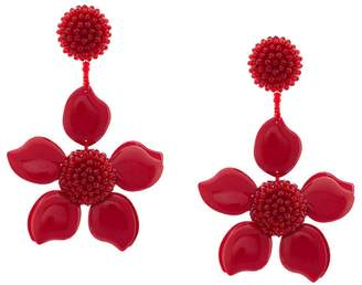 Oscar de la Renta enamel flower earrings