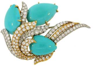 David Webb Yellow Gold and Platinum Turquoise Diamond Pin Brooch Clip Pendant