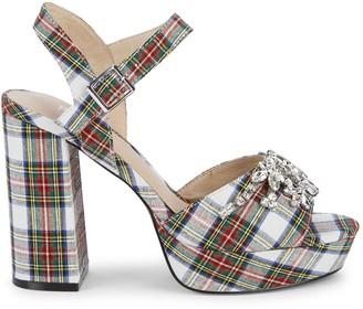 RENVY Embellished Plaid Sandals